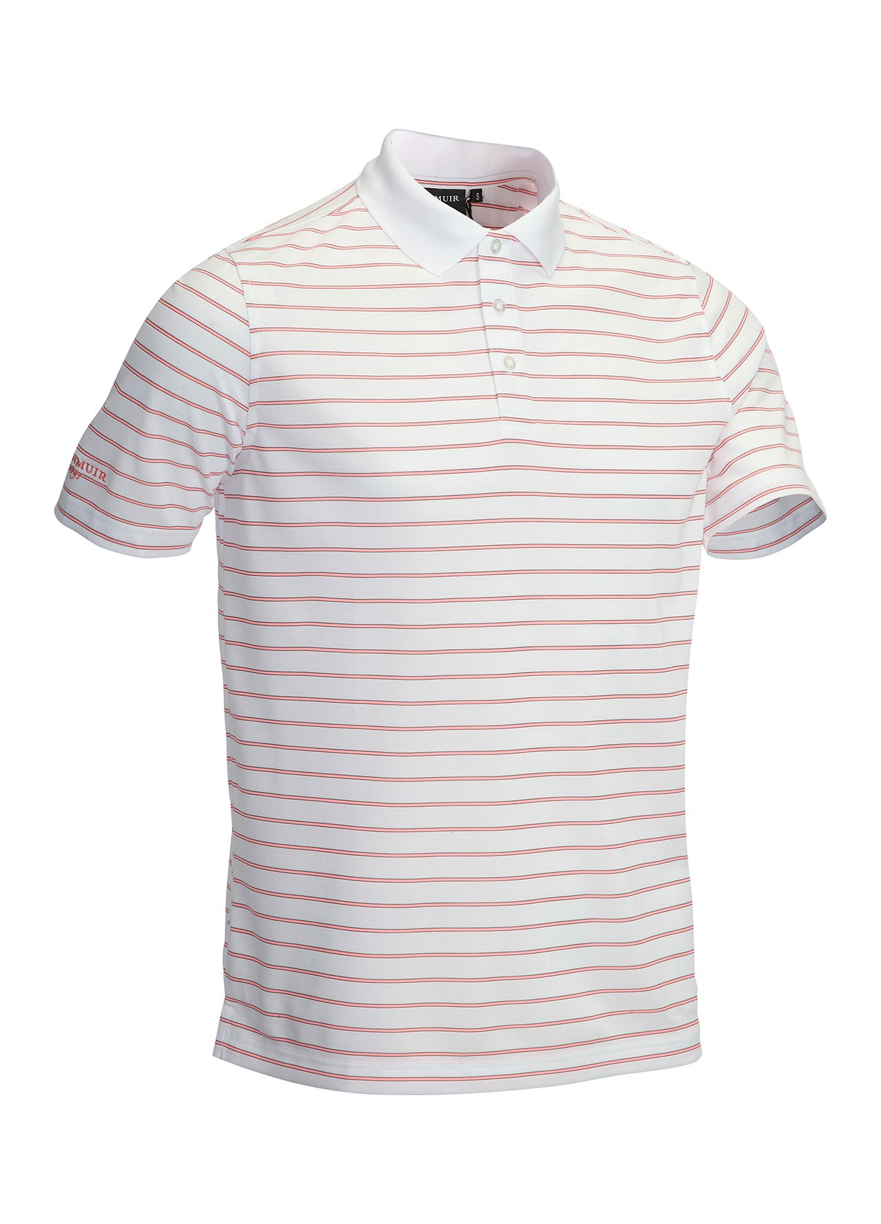 Glenmuir textured stripe polo shirt white medium