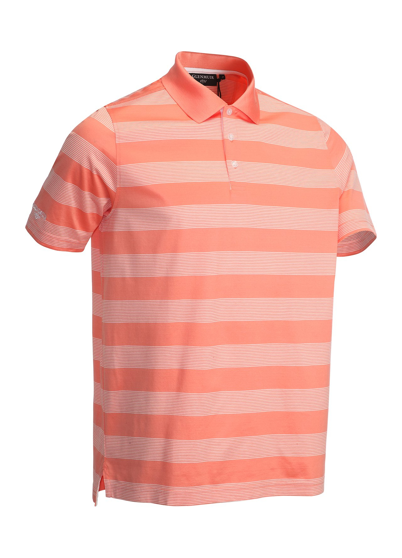 Glenmuir mercerised golf polo shirt coral white large