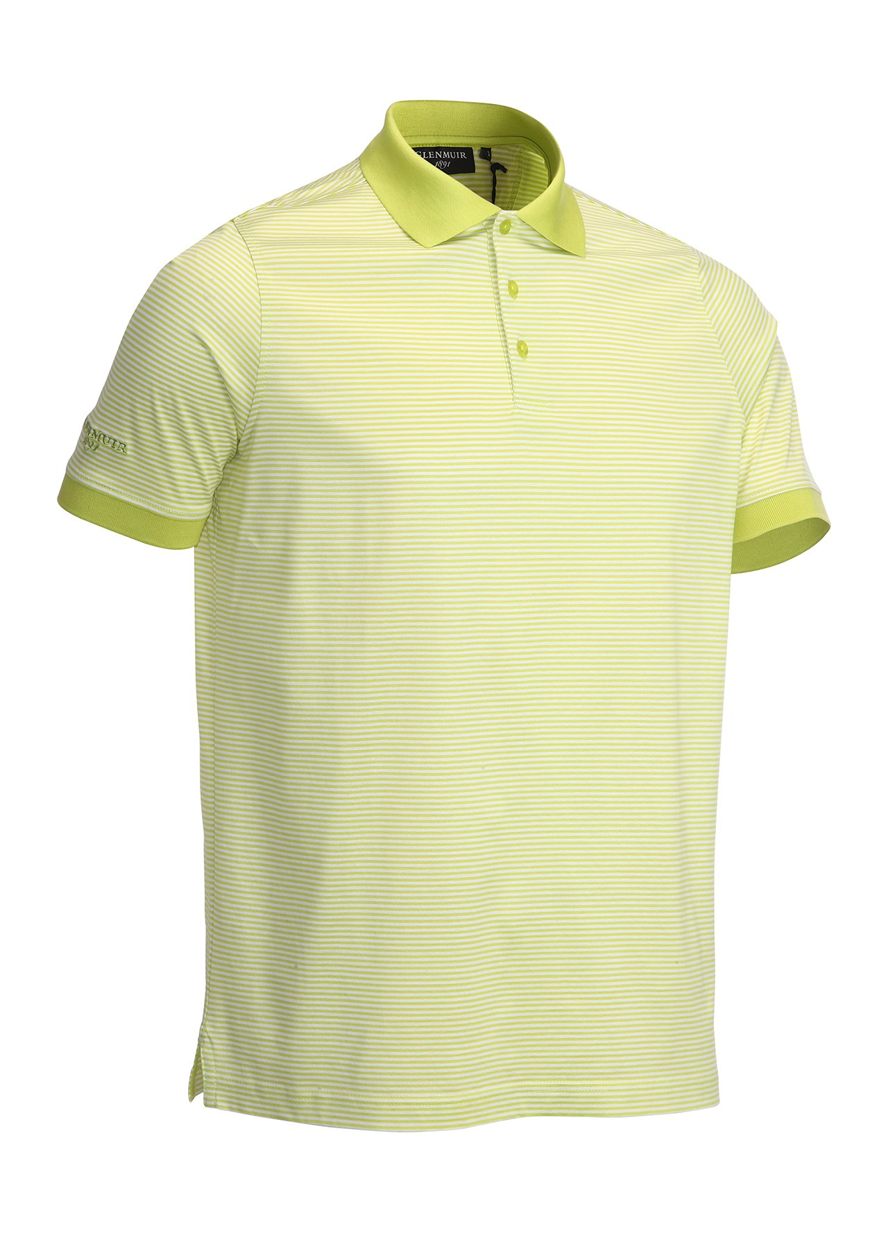 Glenmuir mercerised golf polo shirt lime white large ebay