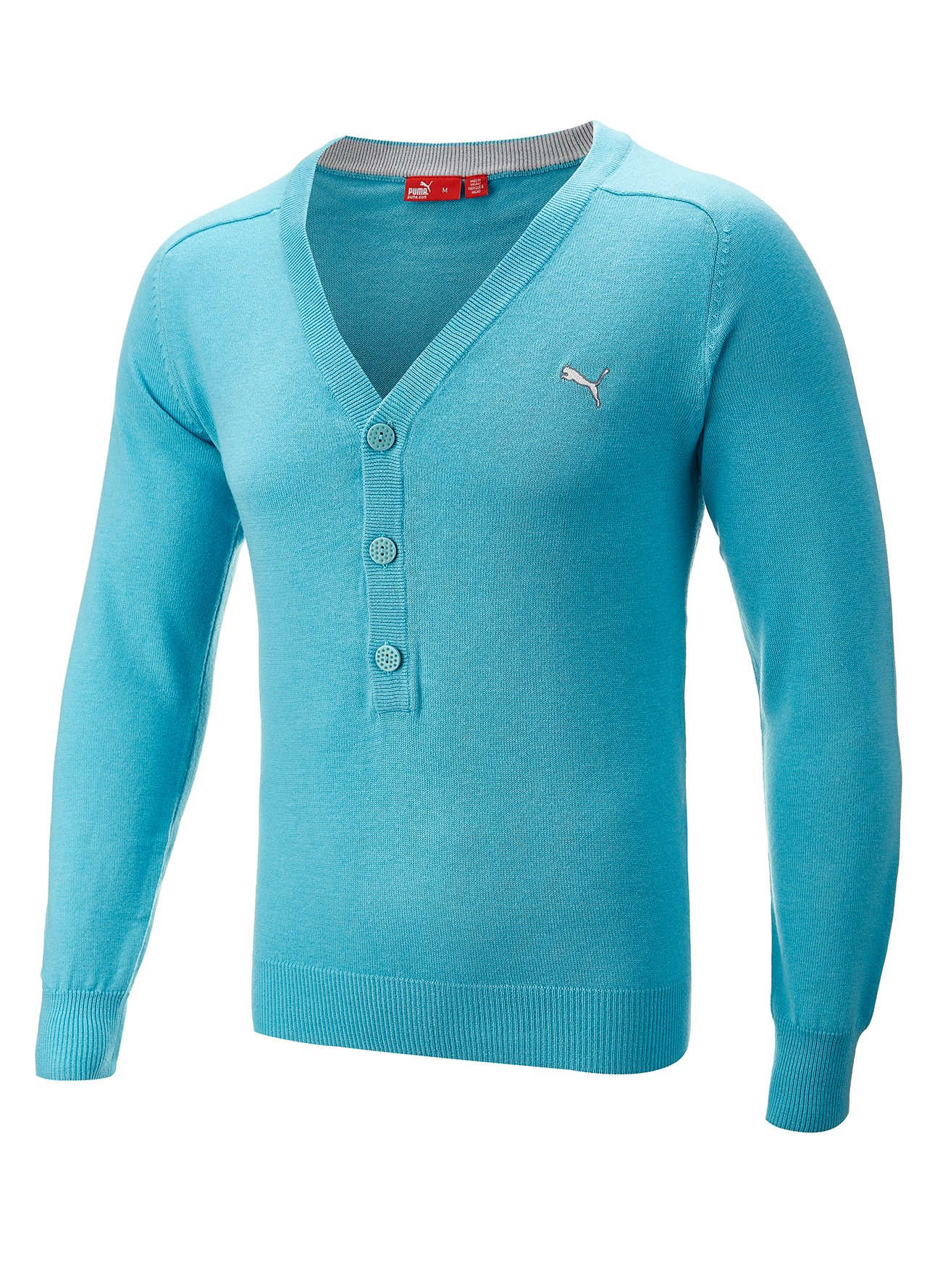 Puma Knitted Button Golf Cardigan Blue Medium Ebay
